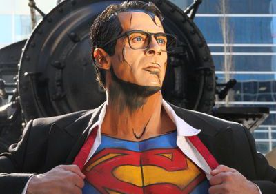 man bodypainted as Superman