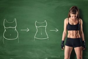 chalkboard drawings and woman getting slimmer