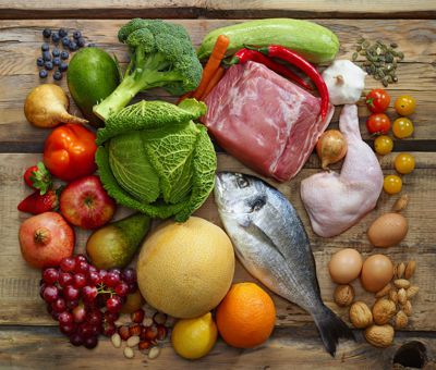 paleo foods, meat, fish, fruit and vegetables